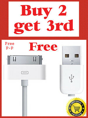 White USB Data Sync Charger Cable For iPhone 4 4S 3G 3GS iPod.