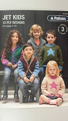 Patons Pattern Book #8012 Jet Kids - 3 Easy Designs to Knit in Jet Yarn