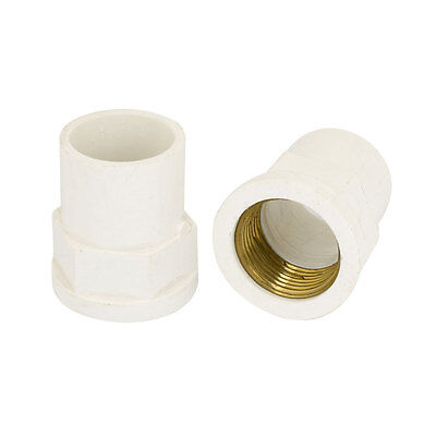 2PCS 25mm Female Threaded PVC Straight Water Hose Pipe Connectors Coupler White