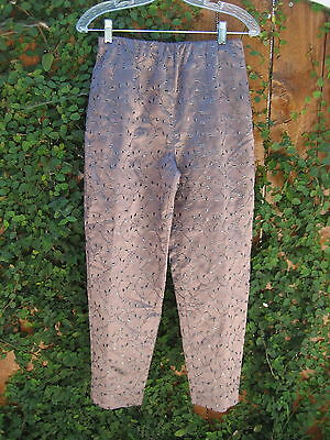 Donna Ricco New York Wine & Metallic Silver Embroidery Pants Vintage 80s Sz 6P