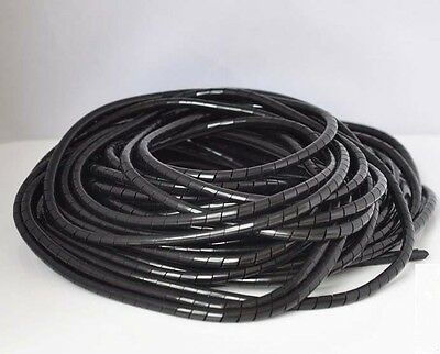 4mm Spiral Cable Wire Wrap Tube Computer Manage Cord clear 70.5FT (21.5M) Black