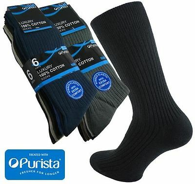 12 Pairs Men's 100% Cotton Luxury Ribbed Socks with Purista in Black or Colours