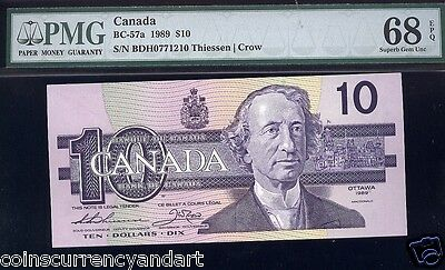 Bank Of Canada 1989 $10 PMG 68 Super Gem Unc Scarce THIESSEN -CROW  Population 6