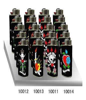 5 new ed hardy curvy lighters refillable tattoo design tiger skull panther dog. Black Bedroom Furniture Sets. Home Design Ideas