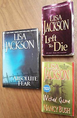 3 LISA JACKSON Nice HC Absolute Fear PB Books NANCY BUSH Wicked Game LEFT TO DIE