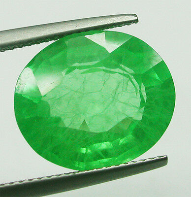 20.80ctGorgeous Russia Coloumbian Green Emerald Chathum Lab Created Antiqe Oval~