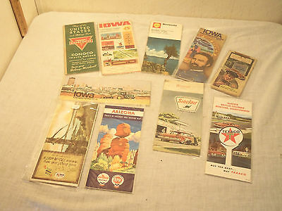Lot of 10 Vintage Antique Road Maps Classic Americana Fin Cars Route 66 Texaco
