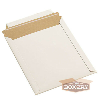 100 - 9.75x12.25'' Rigid Flat Photo Mailers - Self-Seal - White from The Boxery
