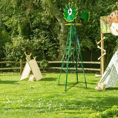 8FT Green Metal Windmill Yard Garden Decoration Weather Rust Resistant Wind Mill