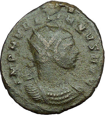AURELIAN  receiving  wreath from woman 270AD Ancient Roman Coin i34115