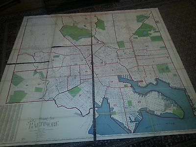 "Huge 5 x 6 foot linen backed plot level ""Flamm's Map of Baltimore"" 1906. RARE"