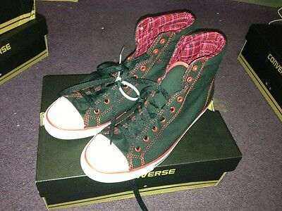 Converse Womens Size 10 Ct Pc Dainty Hi Black And Red Sneaker
