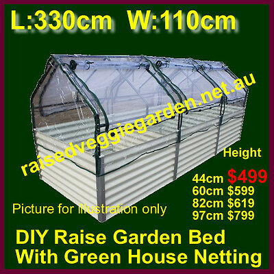RAISED GARDEN BEDS Planter kits with Greenhouse Netting 1.1mx3.3mx44cm