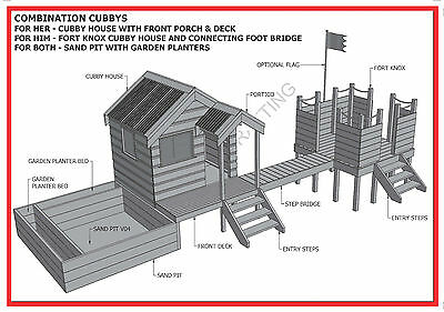 CUBBY HOUSE & FORT & SAND PIT COMBO - Build With Your Kids - Building Plans V1