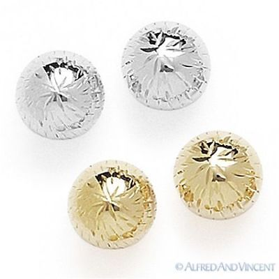 14kt Solid Yellow Gold Stud Earrings 14k Diamond-Cut Detail Ribbed Ball Studs
