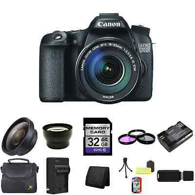Canon EOS 70D DSLR Camera w/18-135mm Lens 32GB Package
