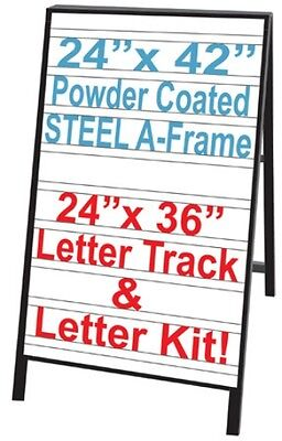 24x36 Message Board Sidewalk Menu Sign Letter Kit with Blue Letters Red Numbers