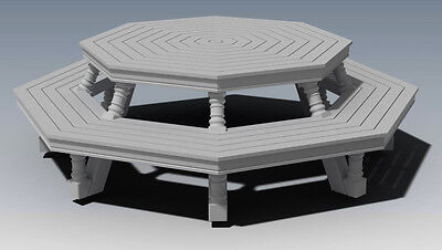 OCTAGON OUTDOOR TIMBER TABLE & CHAIR - UNIQUE DESIGN V1 - Full Building Plans