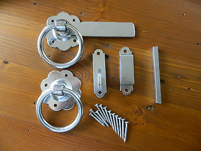 """Zinc Plated Ring Gate / Door Latch 6"""" With Matching Screws New"""