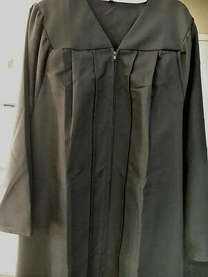 Black Graduation Gown Choir Robe Clergy Judge Costume Matte Many Sizes