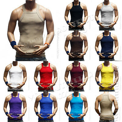 Men Muscle Sleeveless Ribbed Wife Beater Tank Top  A-Shirt Bodybuilding Gym Tee