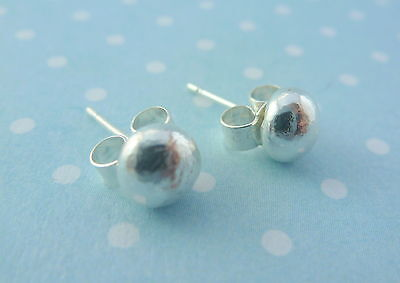 Silver Pebble Earrings - Solid Sterling 925 Silver Ball Plain Round Ear Studs