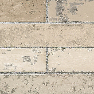 Brick Wallpaper | Light Textured Grey Grout Stone Wall Wallpaper | Prepasted