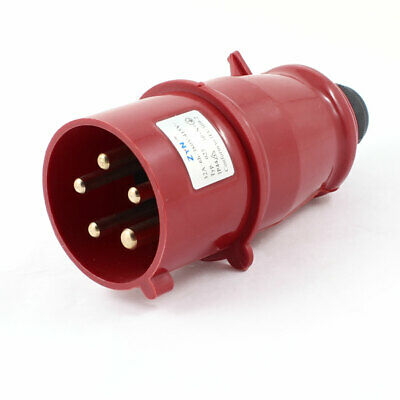 AC 380V-415V 32A 3P+E+N IEC309-2 Panel Mount Industrial Connector Red Black