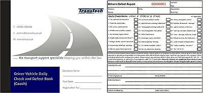 Drivers Daily Duplicate Defect & Check Book (20 pages) - Bus/Coach/Minibus