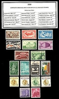 1958 Complete Year Set Of Mint -Mnh- Vintage U.s. Postage Stamps