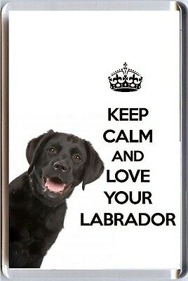 KEEP CALM and LOVE YOUR LABRADOR image of a BLACK Labrador DOG Fridge Magnet