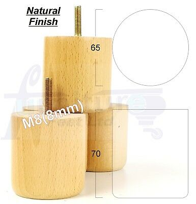 4x NATURAL LIGHT WOODEN FURNITURE LEGS / FEET FOR SOFAS, CHAIRS, STOOLS M8(8mm)