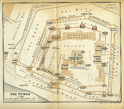 LONDON :  1911 Original  Antique  Plan  of  The  Tower  of  London by Baedeker
