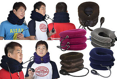 Air Inflatable Cervical Neck Head Pain Traction Pillow Support Brace Device