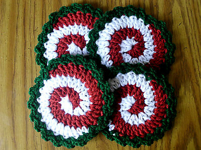 New Hand Made Crochet Coasters Set of 4 Listing # R040 DOLL HOUSE RUGS