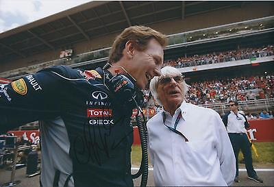 Christian Horner SIGNED Red Bull AUTOGRAPH 12x8 Photo AFTAL COA with Ecclestone