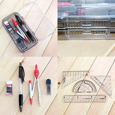 Professional Geometry Drafting Drawing 8in1 Ruler Protractor Pencil Compass Set