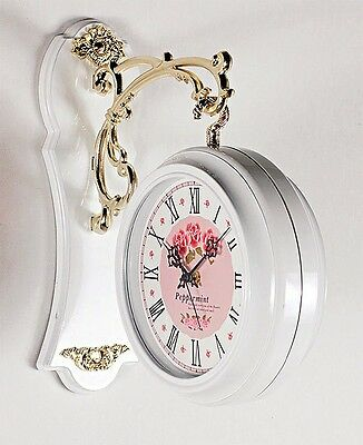 NEW Antique Style Double-Faced CLOCK Interior Double Sided Wall Clock Pink Rose