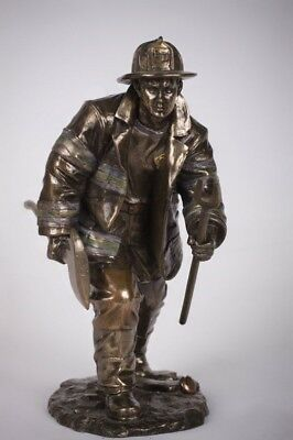 "Fireman Rescue Fire Fighter Figurine Doing His Job Statue Heroic Collection 8""h"