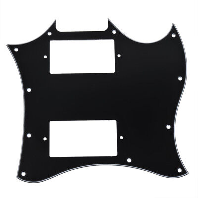 Black Pickguard Full Face Double Pickup For GB SG,3ply Guitar Scratch Plate NEW