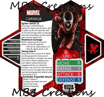 Marvel Carnage Spider-Man Double-Sided Custom Heroscape Card