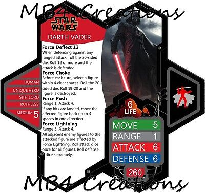 Star Wars Darth Vader Double-Sided Custom Heroscape Card