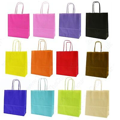 1 Party Bag - Paper Carrier Gift Bags - Medium Birthday Loot Bag - Pick Colour *