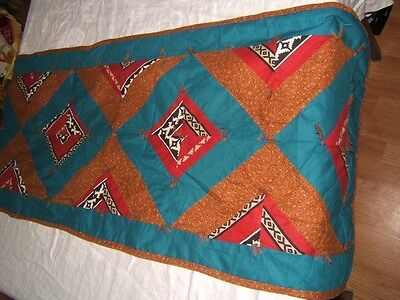 Hand Quilted WESTERN Blue Brown Burgundy TABLE RUNNER 15x57