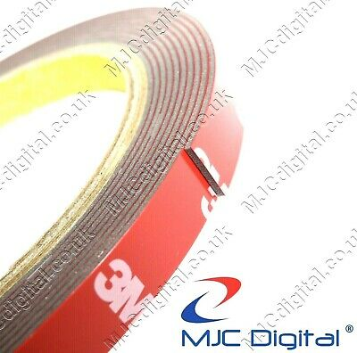 3M 10mm x 3m Acrylic Foam Double Sided Attachment Adhesive Tape 0.8mm Thick HQ