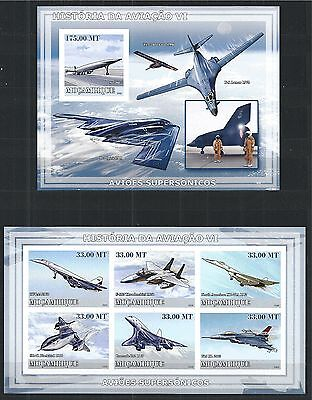 Mozambique Mosambik 2009 Block Mini Sheet Set Imperf History Of Aviation