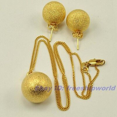 """Real Rare 18K Yellow Gold Gp Big Ball Set Earring Pendant 17.7"""" Necklace Solid"""