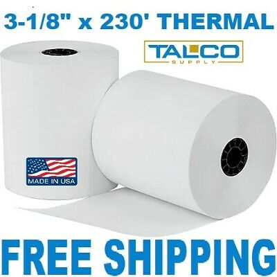 """3-1/8"""" x 230' THERMAL PoS RECEIPT PAPER - 6 NEW ROLLS  ** FREE SHIPPING **"""