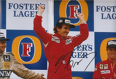 Alain Prost SIGNED Autograph 12x8 Photo AFTAL COA FORMULA 1 Winner PODIUM Piquet