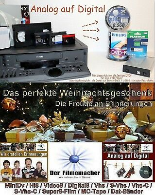Video Kassetten Video8 Digital8 Hi8 minidv vhs-c digitalisieren  auf DVD